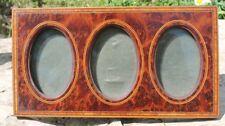 ancien et joli cadre  triptyque en bois loupe et marqueterie