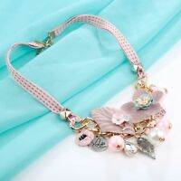 Fashion Leaf Jewelry Flower Simulated Pearl Collar Choker Pendant Necklace