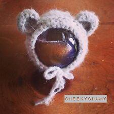 Light Gray mohair fluffy crochet Teddy bear Bonnet. Photography prop. Newborn.
