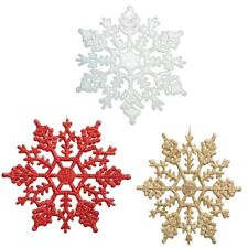 LARGE GOLD SILVER RED GLITTER  CHRISTMAS HANGING SNOWFLAKES HOME PARTY DECOR