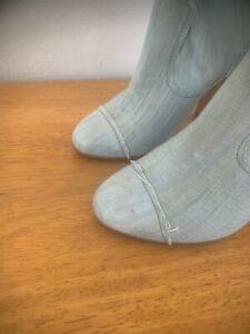 CHANEL Blue Denim Boots