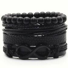 Bracelet noir en Cuir Infini Amour éternel Homme Femme Leather Bracelet Infinity