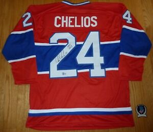 """BECKETT CHRIS CHELIOS """"HOF 2013"""" SIGNED RED MONTREAL GENERIC JERSEY J28992 XL"""