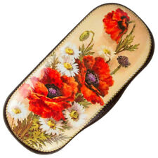Hard Shell Eyeglasses / Shades Case w/ Poppies Red Flowers Floral Artwork