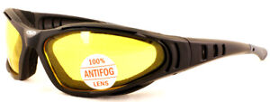 Yellow Tinted Padded UV400 Antifog Motorcycle Glasses/Sunglasses 4 Biker Cruiser