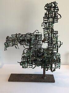 Vtg Rare Marcelo Fantoni Metal Sculpture Mid Century Modern Brutalist Art Italy