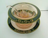 Vintage mayonnaise serving dish pink depression glass trimmed in black and gold