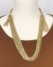 Statement Necklace Sparkly Gold Tone Multi Stranded Twinkly Shimmery NEW