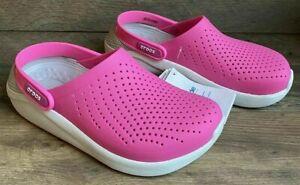 Crocs Literide Clog Beach Sandals Pink White 204592-6QV Womens NWT
