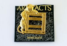Cat Kitty Frame w Hearts Add Your Picture Gold Tone  Sign JJ Jonette Pin Brooch