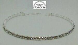 Girocollo tennis argento da donna con cristalli swarovski originali