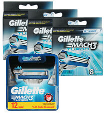36 Gillette Mach3 Turbo Rasierklingen 3x 8er = 24 + 12er OVP = 36 Stück