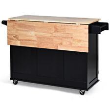 Drop-Leaf Kitchen Island Trolley Cart Wood  Cabinet w/Spice Rack & Drawer