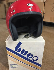 Vintage NOS 1970s Buco motorcycle helmet size 3 Large red fibreglass shell