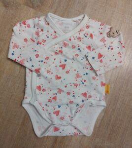 STEIFF Baby Mädchen Wickel Body Gr. 56 Weiß Herzen