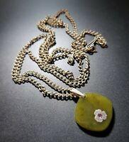 Vintage Soviet Nephrite Pendant Necklace 1970s Melchior Chain