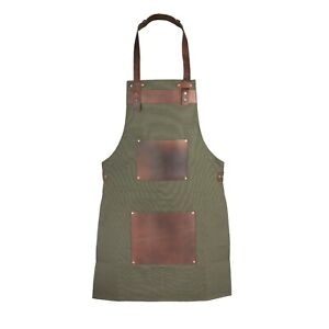Olive Green Canvas and Leather Apron Butcher Apron - BBQ Apron Cooking Apron A1