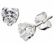 Heart Stud Earrings Cubic Zirconia Sterling Silver 925 Jewelry Birthstones Color