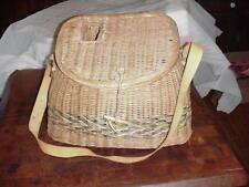 Large Vintage Antique Wicker Fishing Creel Fishing Basket with Shoulder Strap