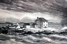 Lime Rock Island 1869 NEWPORT RHODE ISLAND Storm at Sea Matted Antique Print