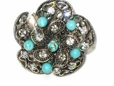 Antique Finish Faux TURQUOISE & Clear Crystals Designer Fashion Stretch Ring