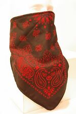 Black red fleece lined bandana motorcycle skiing face mask