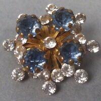 Vintage Blue Clear Rhinestone Brooch Pin Goldtone
