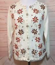 In Resource Womens Medium Vintage Beaded poinsettia Holiday Sweater Cardigan