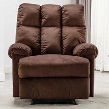 Overstuffed Recliner Chair Luxury Velvet Fabric Manual Sofa Wide Seat High Back