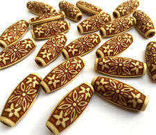 20 x Large Ethnic Acrylic Brown Tube Beads Size 12mm x 29mm x 9mm