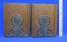 Vintage Bookend Panels Wooden w/  Monogramed W Cast Metal & Solid Hard Wood