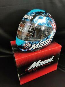 NEW Masei 833 Blue Monster Full Face Motorcycle Harley Helmet L/XL