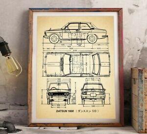 Datsun 510 Blueprint Wall Art, Car Print, Datsun 1600 Automotive Decor