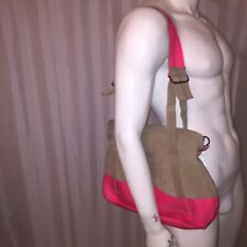pre-loved auth HUNTER gray/hot pink MOUSTACHE zip top TOTE bag XBODY $395