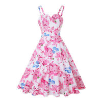 Womens 50s Pink Floral Vintage Pinup Swing Evening Party Rockabilly Retro Dress
