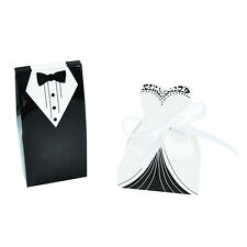 100pcs Dress & Smoking Sposa Sposo Nozze Favore NASTRO Caramelle Bomboniera Box