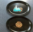 Pair of Beautiful Couroc Southwest Theme Platters with Gold and Silver