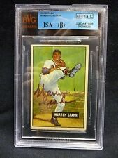 1951 Bowman #134 WARREN SPAHN BVG Authentic Autographed JSA HOF Boston Braves