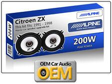 "Citroën ZX puerta delantera Altavoces Alpine 13cm 5.25"" KIT DE PARA COCHE 200w"