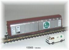 15565   Minitrix -  Set mit 2achsigen Schiebewandwagen Bauart Hbbikks-tt 304 Neu