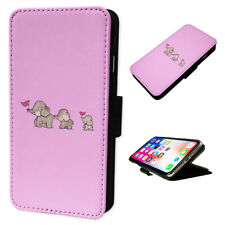 Elephant Family Pink - Flip Phone Case Wallet Cover - Fits Iphones & Samsung