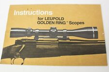 Instructions for Leupold Golden Ring Scopes Manual/Owners Guide Gun Rifle Scope