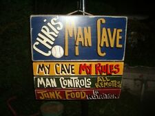 MAN FAN CAVE SPORTS BAR COUNTRY RULES PRIMITIVE PERSONALIZED CUSTOM SIGN PLAQUE