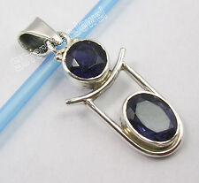 925 Sterling Silver Exclusive CUT IOLITE 2 STONE COMBINATION ART Pendant 1.4""