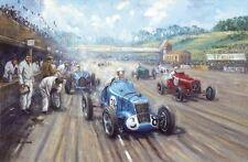 MG Alfa Romeo Vintage Motor Racing F1 Car Brooklands Racetrack Birthday Card