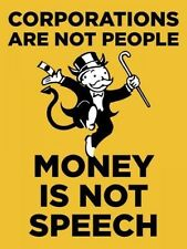 """Corporations Are Not People Money Is Not Speech Democrat Button Pin 3"""""""