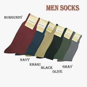 2 Pair Men's High Quality Solid Color Dress Socks One Size 10~13