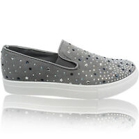 NEW LADIES WOMENS SPARKLY PLATFORM SLIP ON SKATER TRAINERS PUMP DECK SHOES SIZE