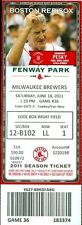 2011 Red Sox vs Brewers Ticket: Rickie Weeks & Corey Hart Hrs/Randy Wolf win