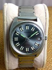 Vintage Citizen 63-1230 NOS hand winding watch cal1800 with date Gray 70's  L3#